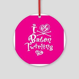 I Heart Baton Twriling Ornament (Round)