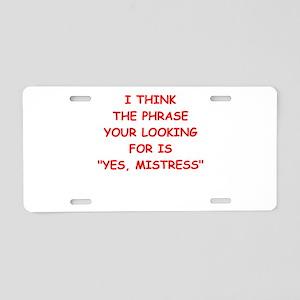 mistress Aluminum License Plate