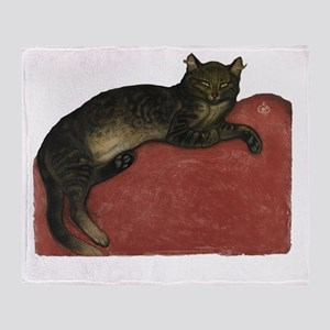 Cat on a Cushion Throw Blanket