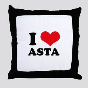 I Love Heart Asta Throw Pillow