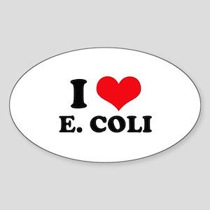 I Love Heart E. Coli Oval Sticker