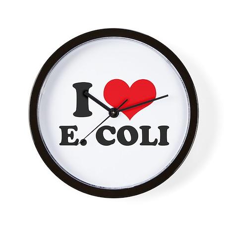 I Love Heart E. Coli Wall Clock