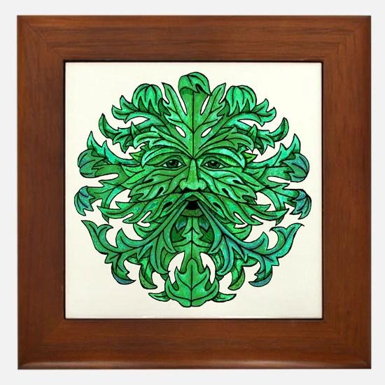 Green Man Gaze Framed Tile