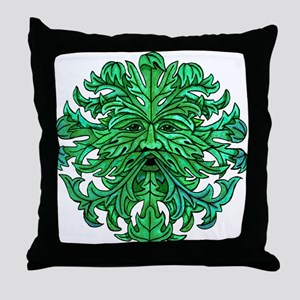 Green Man Gaze Throw Pillow
