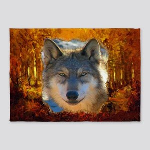 Gray Wolf Face 5'x7'Area Rug