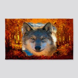 Gray Wolf Face Area Rug