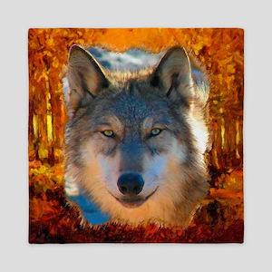 Gray Wolf Face Queen Duvet