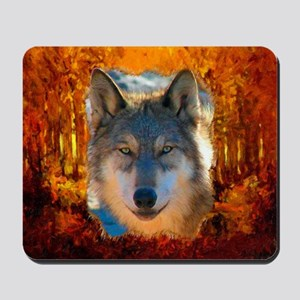 Gray Wolf Face Mousepad