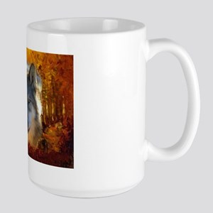 Gray Wolf Face Large Mug