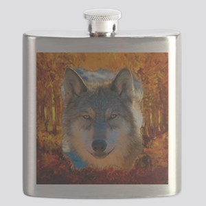 Gray Wolf Face Flask