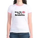 Kiss me I'm a brunette Jr. Ringer T-Shirt