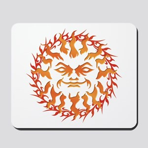 Tribal Burning Sun Orange Yellow Mousepad