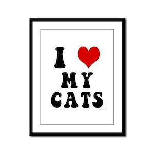 I Love (Heart) My Cats Framed Panel Print