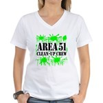 Area 51 Clean-Up Crew Women's V-Neck T-Shirt