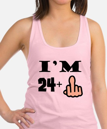 Middle Finger 25th Birthday Racerback Tank Top