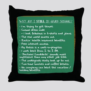 """STILL in Grad School"" Throw Pillow"
