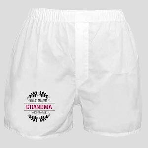 World's Greatest Grandma Custom Name Boxer Shorts