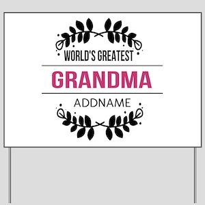 World's Greatest Grandma Custom Name Yard Sign