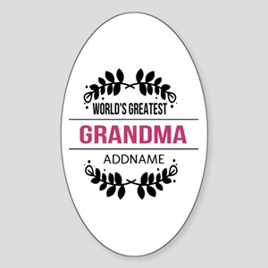 World's Greatest Grandma Custom Nam Sticker (Oval)