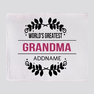 World's Greatest Grandma Custom Name Throw Blanket