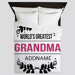 World's Greatest Grandma Custom Name Queen Duvet