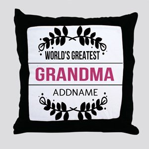 World's Greatest Grandma Custom Name Throw Pillow