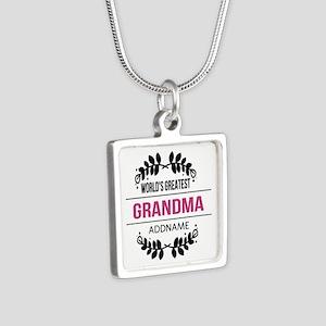 World's Greatest Grandma C Silver Square Necklace