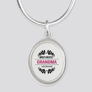 World's Greatest Grandma Cust Silver Oval Necklace