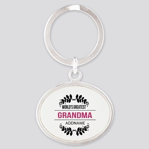 World's Greatest Grandma Custom Name Oval Keychain