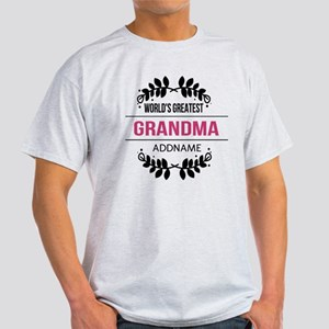 World's Greatest Grandma Custom Name Light T-Shirt