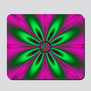 Green Flower on Pink by designeffects Mousepad