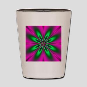 Green Flower on Pink by designeffects Shot Glass