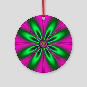 Green Flower on Pink by designeff Ornament (Round)