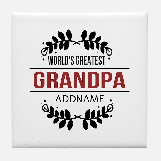 Custom Worlds Greatest Grandpa Tile Coaster