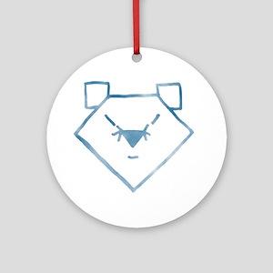 Blue Anime Bear Ornament (Round)