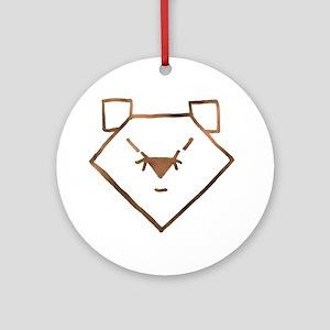 Brown Anime Bear Ornament (Round)