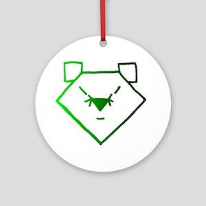 Green Anime Bear Ornament (Round)