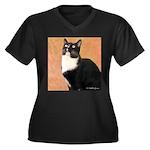 Curious Cat Women's Plus Size V-Neck Dark T-Shirt