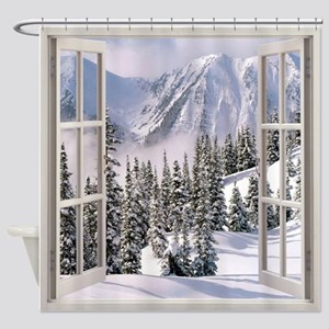 Winter Wonderland Window View Shower Curtain
