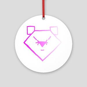 Pink Anime Bear Ornament (Round)