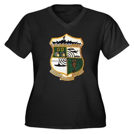 USS EUGENE A Women's Plus Size V-Neck Dark T-Shirt