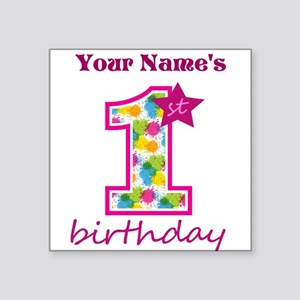 "1st Birthday Splat - Person Square Sticker 3"" x 3"""