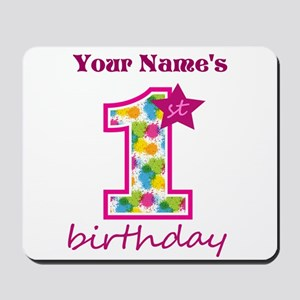 1st Birthday Splat - Personalized Mousepad