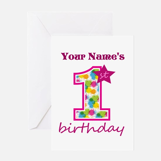 1st Birthday Splat - Personalized Greeting Card