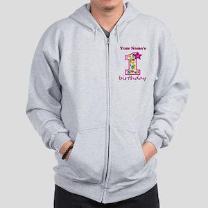 1st Birthday Splat - Personalized Zip Hoodie