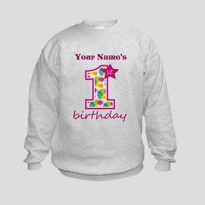 1st Birthday Splat - Personalized Kids Sweatshirt