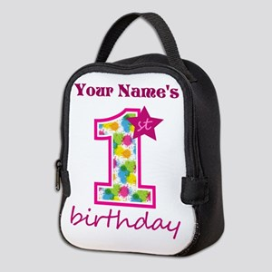 1st Birthday Splat - Personaliz Neoprene Lunch Bag