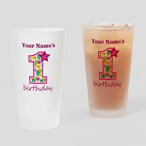 1st Birthday Splat - Personalized Drinking Glass