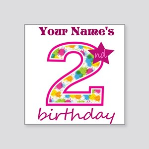 "2nd Birthday Splat - Person Square Sticker 3"" x 3"""