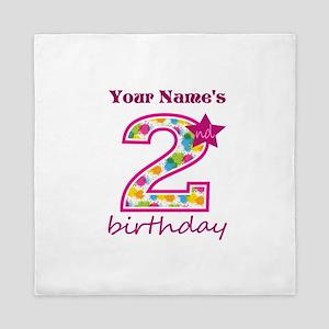 2nd Birthday Splat - Personalized Queen Duvet